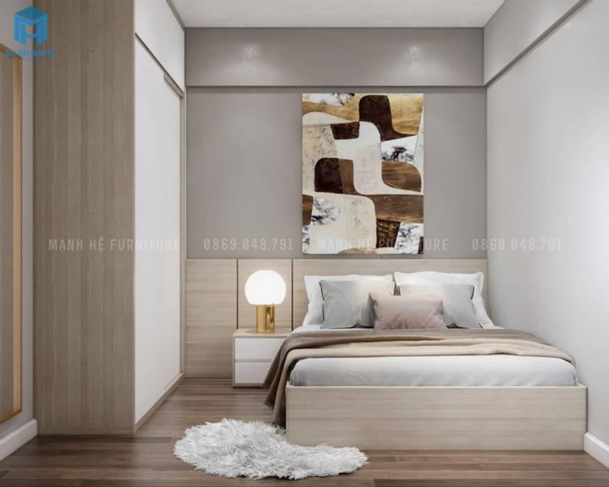 Tranh treo đầu giường nghệ thuật cũng tuân thủ theo tone màu vàng nâu ấm áp, không quá nổi bật Phòng ngủ phong cách Địa Trung Hải bởi Công ty TNHH Nội Thất Mạnh Hệ Địa Trung Hải