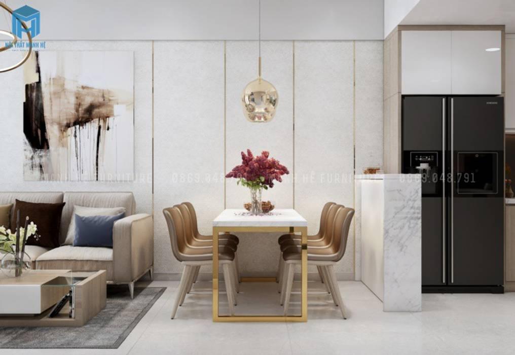Bàn ăn tone vàng nâu quý phái Nhà bếp phong cách Địa Trung Hải bởi Công ty TNHH Nội Thất Mạnh Hệ Địa Trung Hải