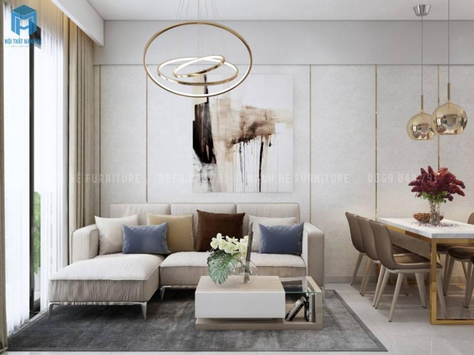 Sofa lớn phòng khách hiện đại Phòng khách phong cách Địa Trung Hải bởi Công ty TNHH Nội Thất Mạnh Hệ Địa Trung Hải