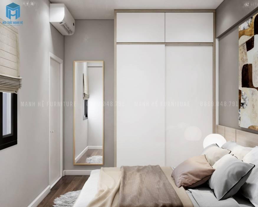 Sự lựa chọ thông minh cho phòng ngủ nhỏ: tủ quần áo gỗ công nghiệp cửa lùa Phòng ngủ phong cách Địa Trung Hải bởi Công ty TNHH Nội Thất Mạnh Hệ Địa Trung Hải