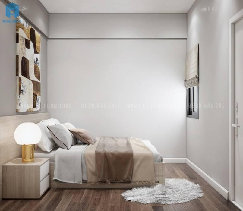 Giường ngủ thông minh bằng gỗ công nghiệp Phòng ngủ phong cách Địa Trung Hải bởi Công ty TNHH Nội Thất Mạnh Hệ Địa Trung Hải