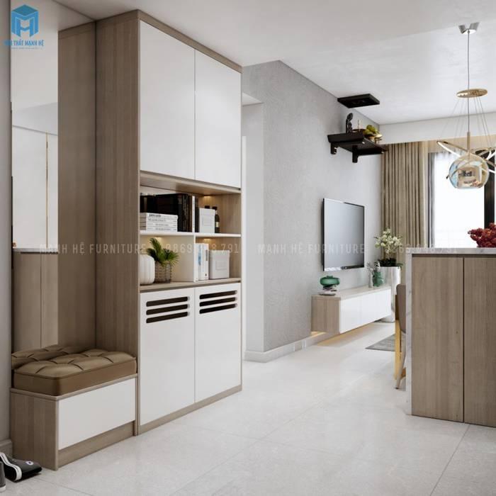 Tủ kệ trang trí thông minh bằng gỗ công nghiệp Nhà bếp phong cách Địa Trung Hải bởi Công ty TNHH Nội Thất Mạnh Hệ Địa Trung Hải