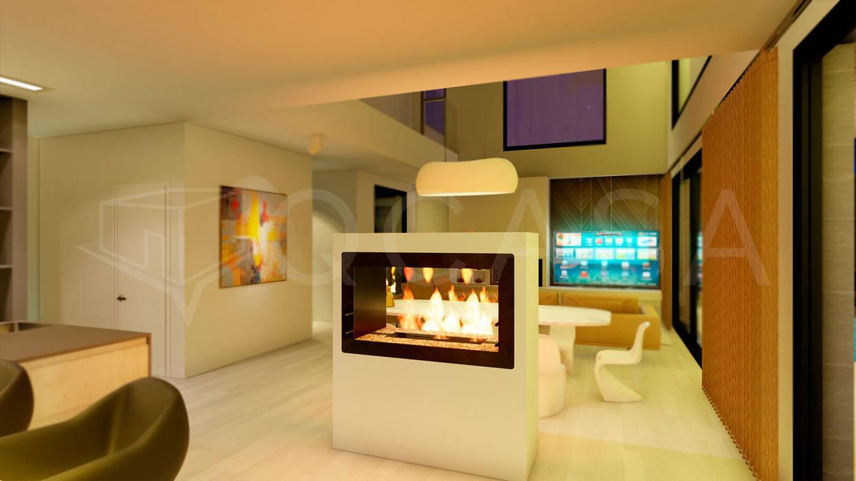Salón con chimenea de bioetanol Comedores de estilo moderno de QCASA.Madrid. Viviendas industrializadas eficientes de hormigón Moderno Hormigón