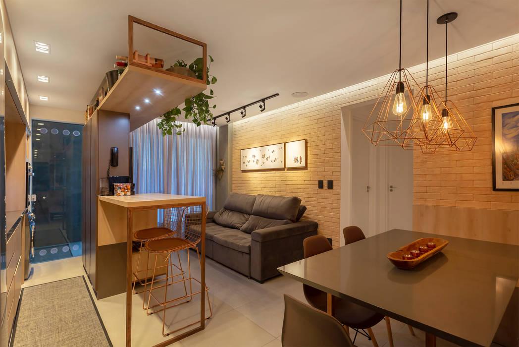 Living - Apto Bay301 Salas de estar industriais por Cassiana Rubin Arquitetura Industrial