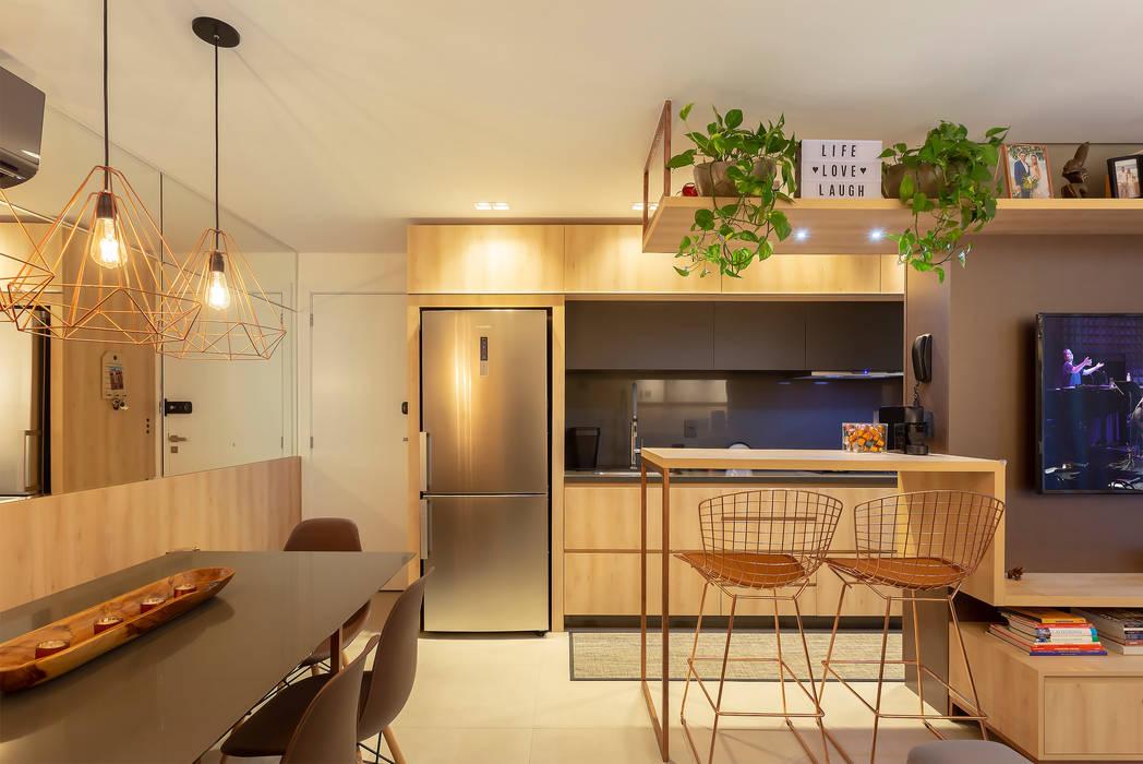 Living - Apto Bay301 Cozinhas industriais por Cassiana Rubin Arquitetura Industrial