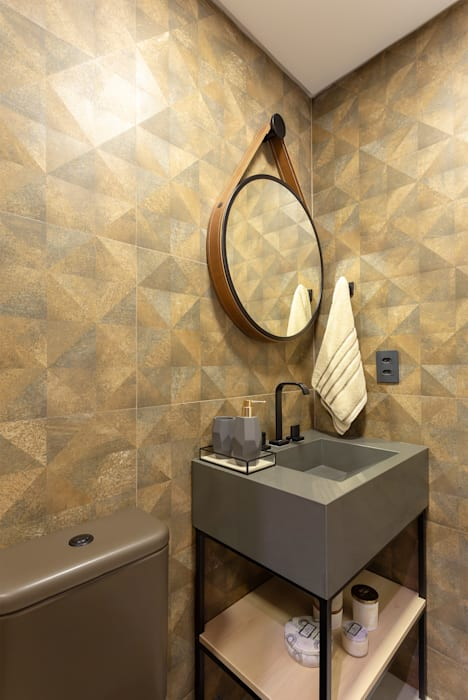 Banheiro Social- Apto BAY301 Banheiros industriais por Cassiana Rubin Arquitetura Industrial