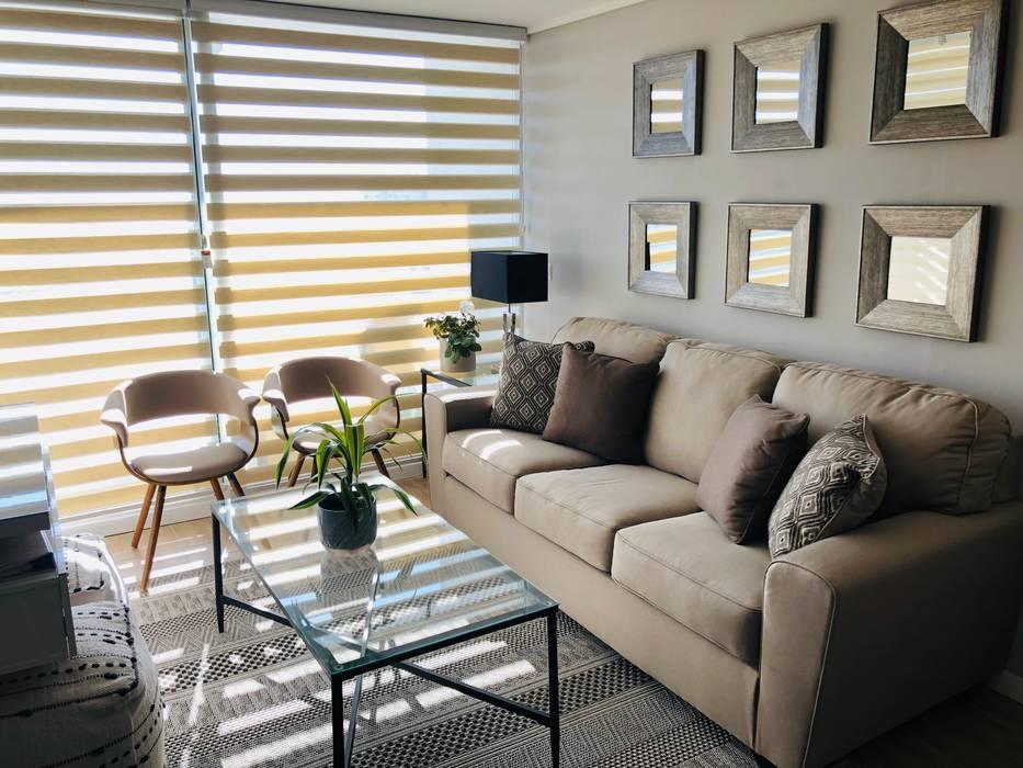 Vista panoramica living Livings de estilo moderno de Oscar Saavedra Diseño y Decoración Spa Moderno