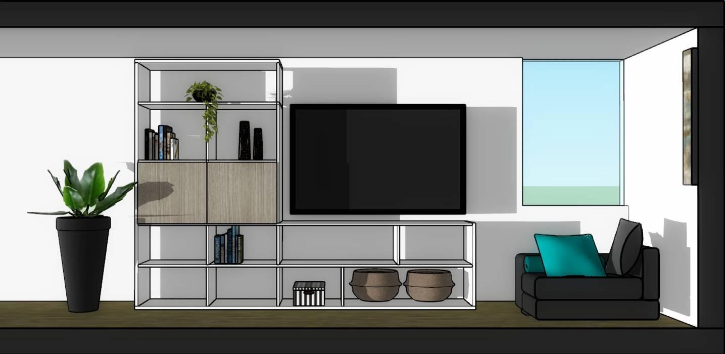 Librero y televisor de Azohia Design - Diseño y Decoracion Maria Alejandra Bucher EIRL Moderno