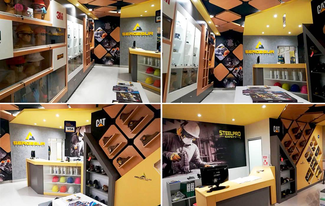 Tienda de artículos de seguridad de Diseño Integral y Construcción S.A.C. Moderno Derivados de madera Transparente
