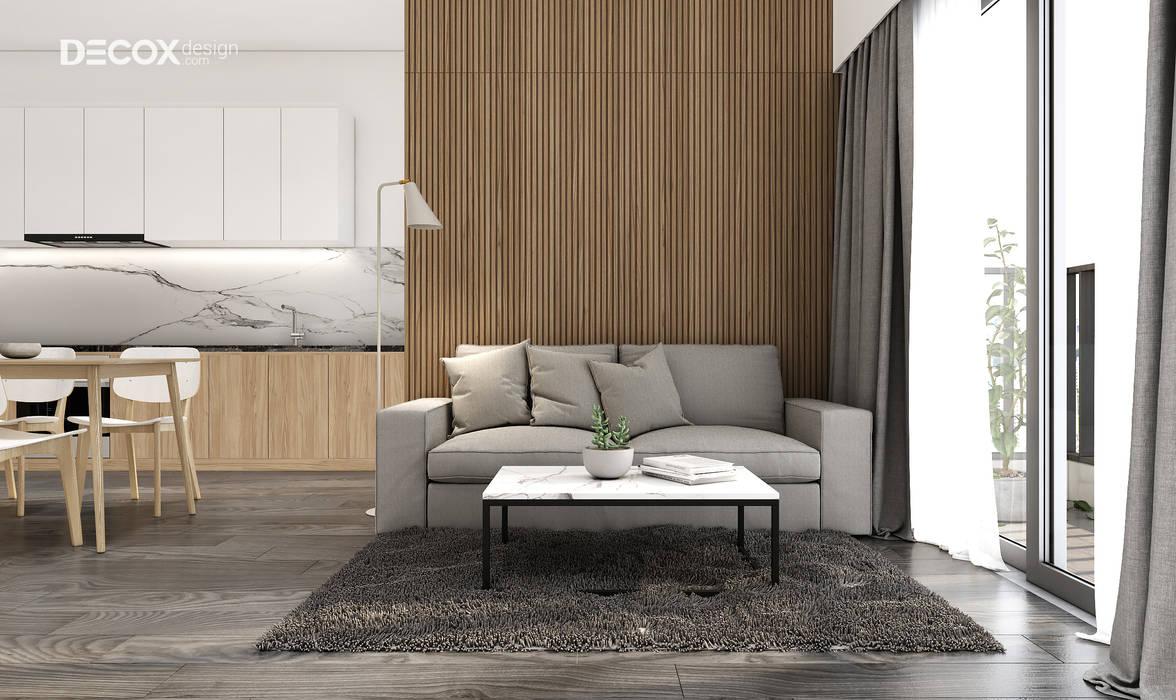 THIẾT KẾ NỘI THẤT CĂN HỘ PALM HEIGHTS 70M2 DE017 Phòng khách phong cách tối giản bởi Công ty cổ phần nội thất DECOX Tối giản