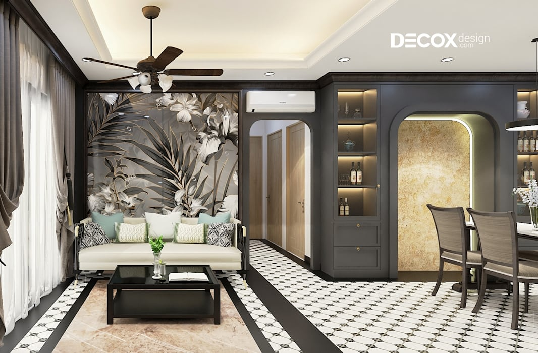 THIẾT KẾ NỘI THẤT CĂN HỘ RIVER GATE 96M2 DE190066 Phòng khách phong cách thực dân bởi Công ty cổ phần nội thất DECOX Thực dân