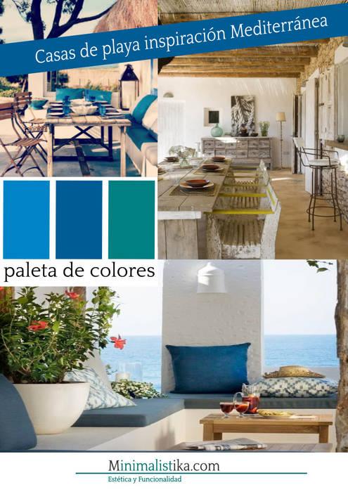 Casas de Playa Minimalista y Mediterráneo - Moodboard Anexos de estilo mediterráneo de Minimalistika.com Mediterráneo Madera Acabado en madera
