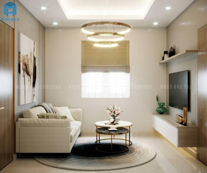 Không gian phòng khách tràn đầy ánh nắng tự nhiên bởi Công ty TNHH Nội Thất Mạnh Hệ Hiện đại