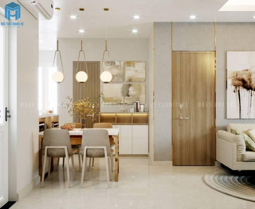 Tủ kệ trang trí đa năng dùng chung phòng bếp và phòng khách sang trọng Phòng ăn phong cách hiện đại bởi Công ty TNHH Nội Thất Mạnh Hệ Hiện đại