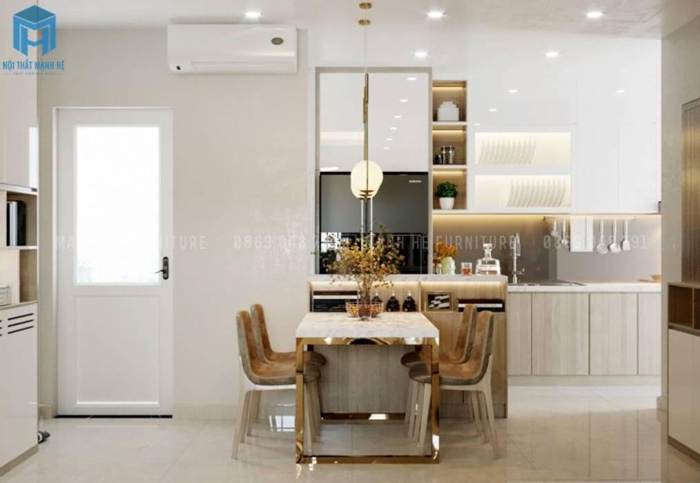 Bộ bàn ăn mặt đá sang trọng Phòng ăn phong cách hiện đại bởi Công ty TNHH Nội Thất Mạnh Hệ Hiện đại