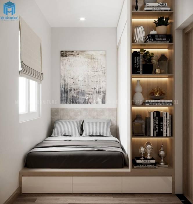 Giường ngủ thông minh có hộc kéo kết hợp tủ quần áo cửa lùa và kệ sách trang trí bởi Công ty TNHH Nội Thất Mạnh Hệ Hiện đại