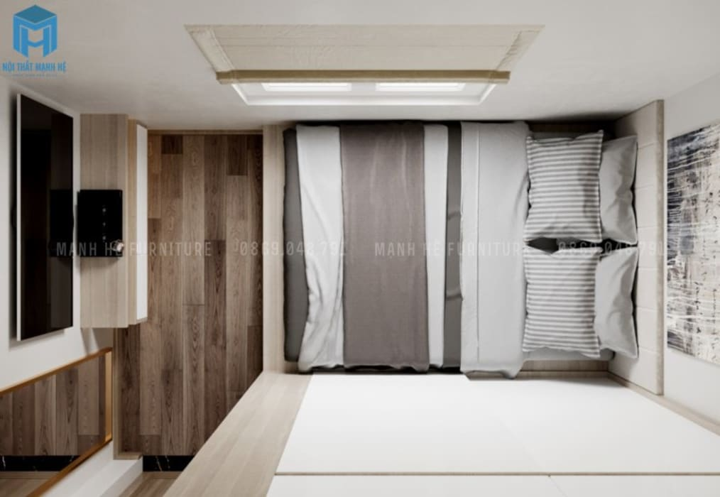 Tổng thể không gia phòng ngủ tone xám cá tính bởi Công ty TNHH Nội Thất Mạnh Hệ Hiện đại