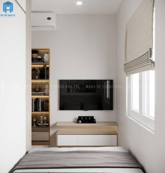 Kệ tivi treo tường gỗ công nghiệp nhỏ gọn Công ty TNHH Nội Thất Mạnh Hệ Phòng ngủ nhỏ