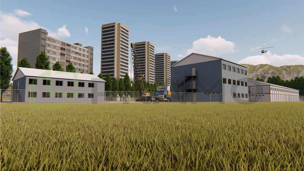 Dinding & Lantai Gaya Industrial Oleh PRAMO PREFABRİCATED & STEEL Industrial Kayu Wood effect