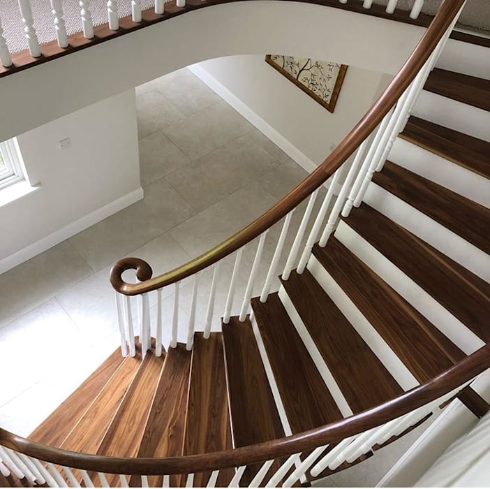 Helical Staircase in Walnut Boss Stairs Limited Tangga Parket