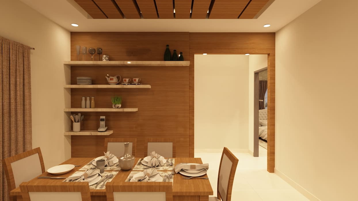 Crockery Unit Asian style dining room by SD Interiors & Modulars Asian Wood Wood effect