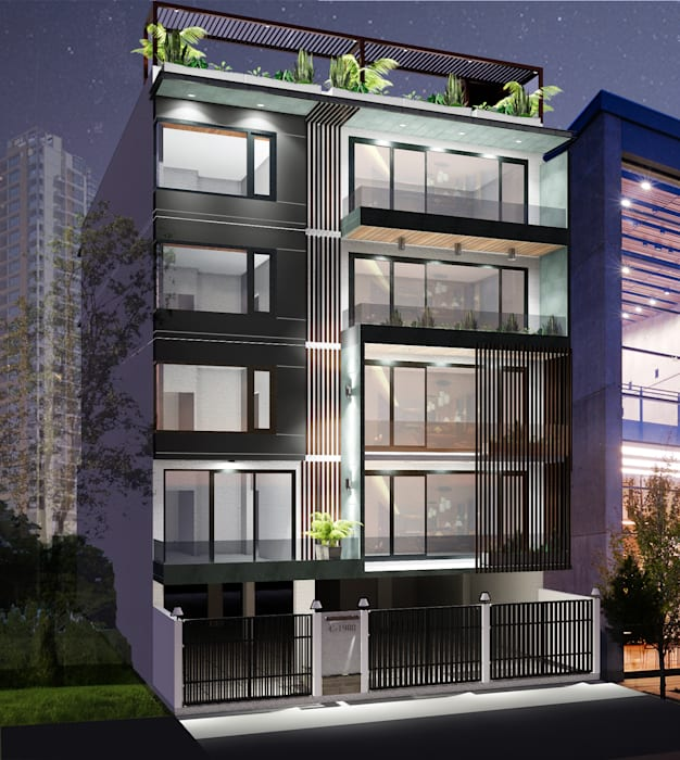 Residential Building at Sushant Lok | Gurgaon Modern houses by Studio Square Design Co. Modern