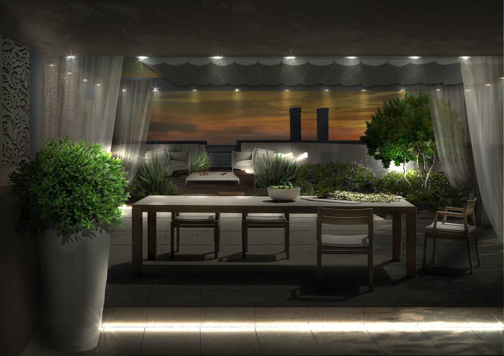 Il terrazzo con la zona pranzo di notte Verde Progetto - Adriana Pedrotti Garden Designer Balcone, Veranda & Terrazza in stile moderno