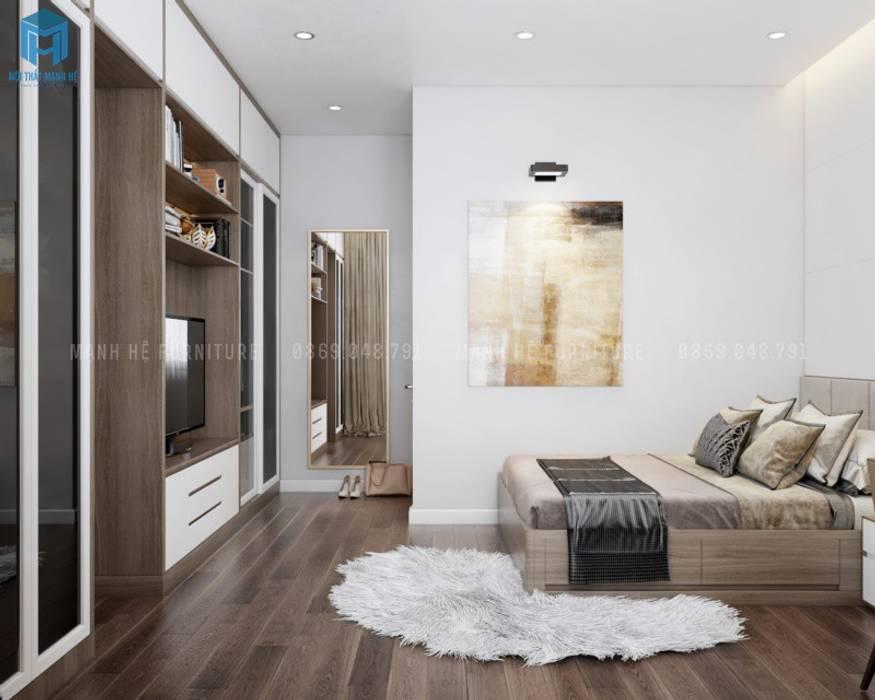 Sàn gỗ công nghiệp phù hợp thi công những căn phòng có diện tích nhỏ bởi Công ty TNHH Nội Thất Mạnh Hệ Hiện đại Đá hoa