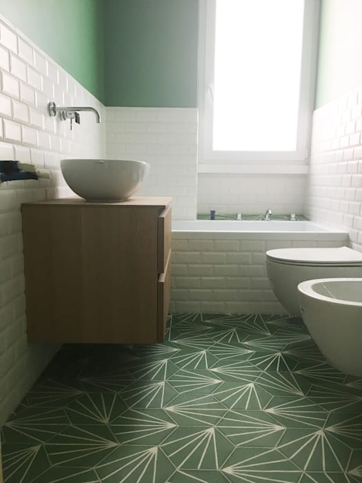 YANN Srl Baños de estilo moderno Concreto Verde