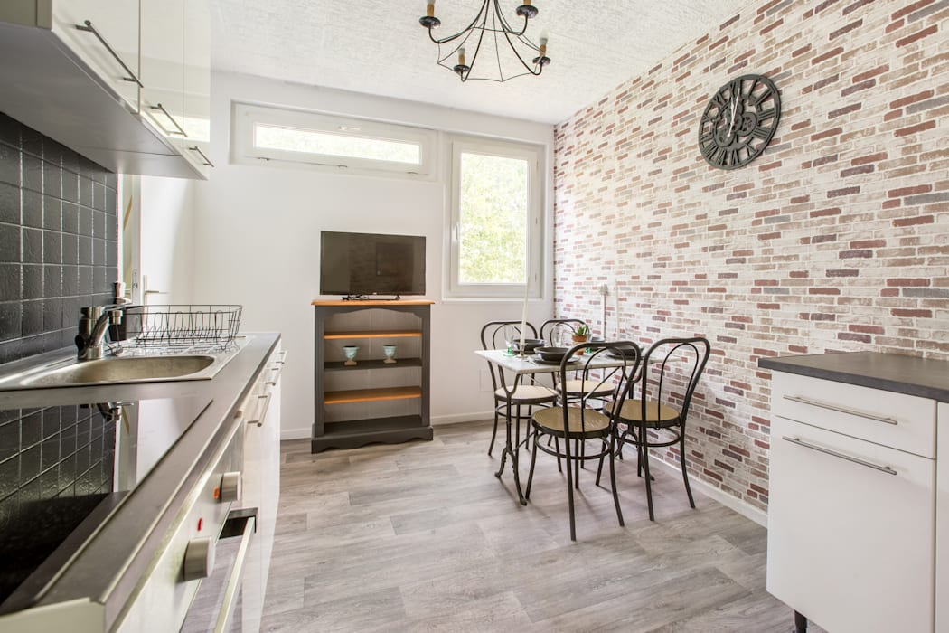 appartement étudiant Cuisine industrielle par Elahe-Deco Industriel Métal