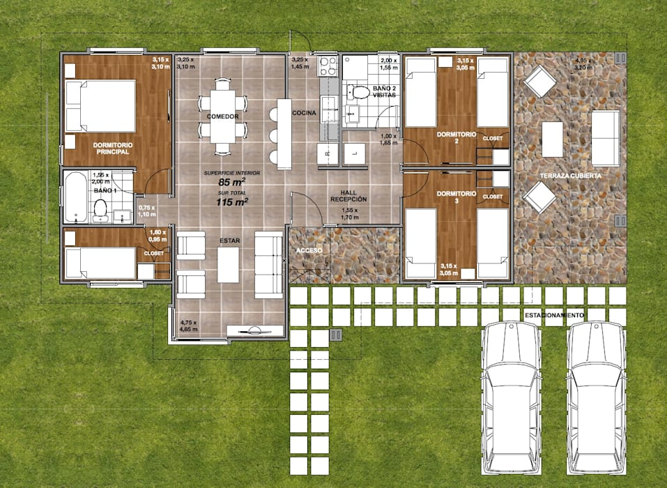 Planta de Distribución Interior #2 Casas modernas de R&R Construccion Moderno