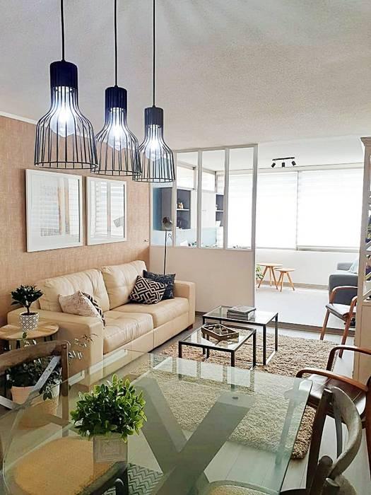 Living de Estudio Arquitectura y construccion PR/ Arquitectura, Construccion y Diseño de interiores / Santiago, Rancagua y Viña del mar Moderno