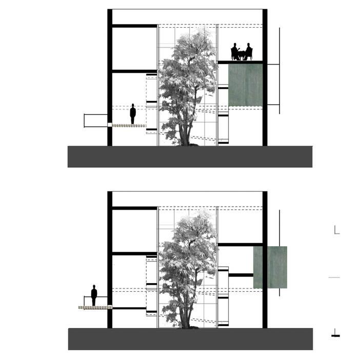 sezioni con le pareti scorrevoli Case in stile mediterraneo di Altro_Studio Mediterraneo