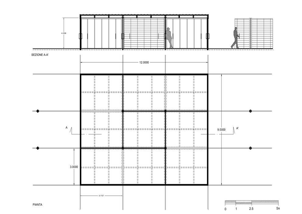 pianta e sezione Case in stile minimalista di Altro_Studio Minimalista