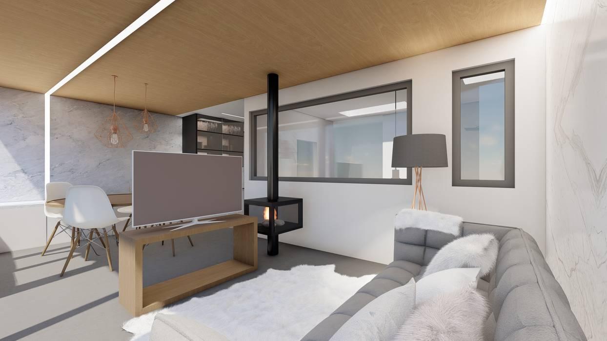 Interior salón-comedor-cocina con techo de madera. Salones de estilo moderno de Barreres del Mundo Architects. Arquitectos e interioristas en Valencia. Moderno Madera Acabado en madera