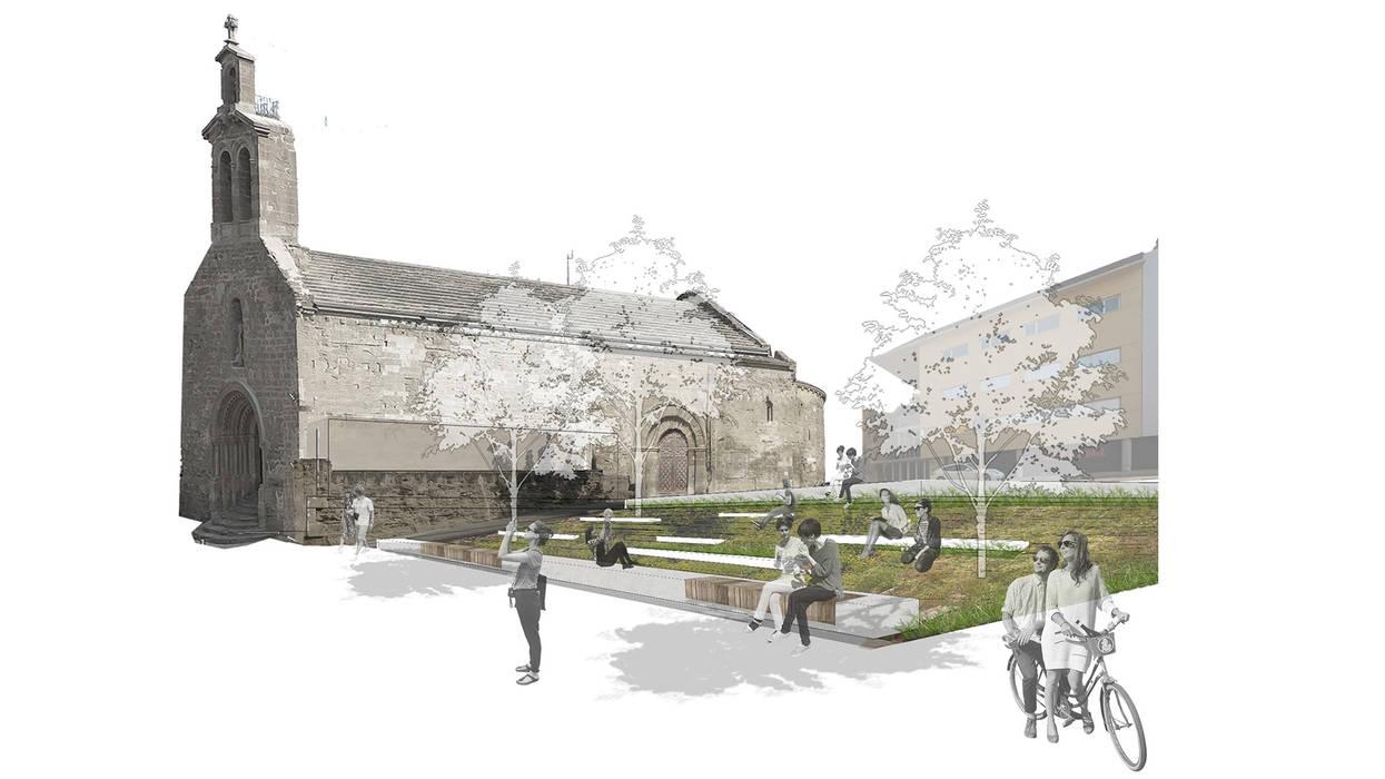 Reurbanització de la Plaça Pepita Cervera de lluerna arquitectura SCCL Mediterráneo