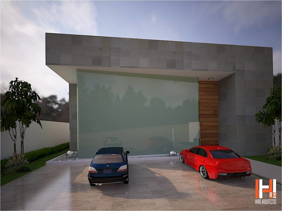 FACHADA DE CRISTAL CON FUENTE Casas modernas de HHRG ARQUITECTOS Moderno