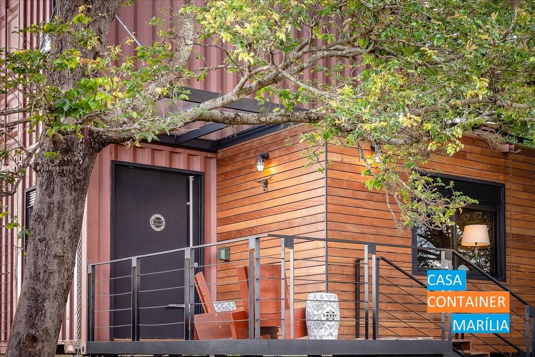 Varanda de Entrada Varandas, alpendres e terraços campestres por Casa Container Marilia - Barros Assuane Arquitetura Campestre