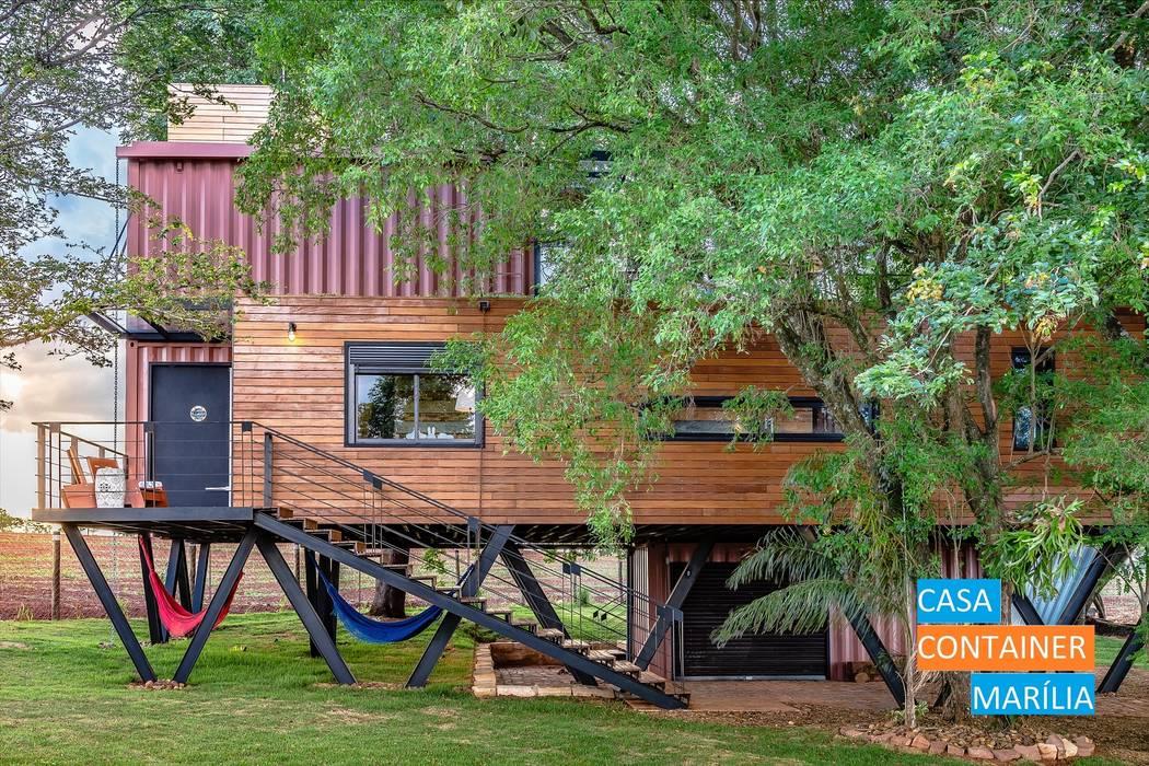 Fachada Lateral Casas campestres por Casa Container Marilia - Arquitetura em Container Campestre