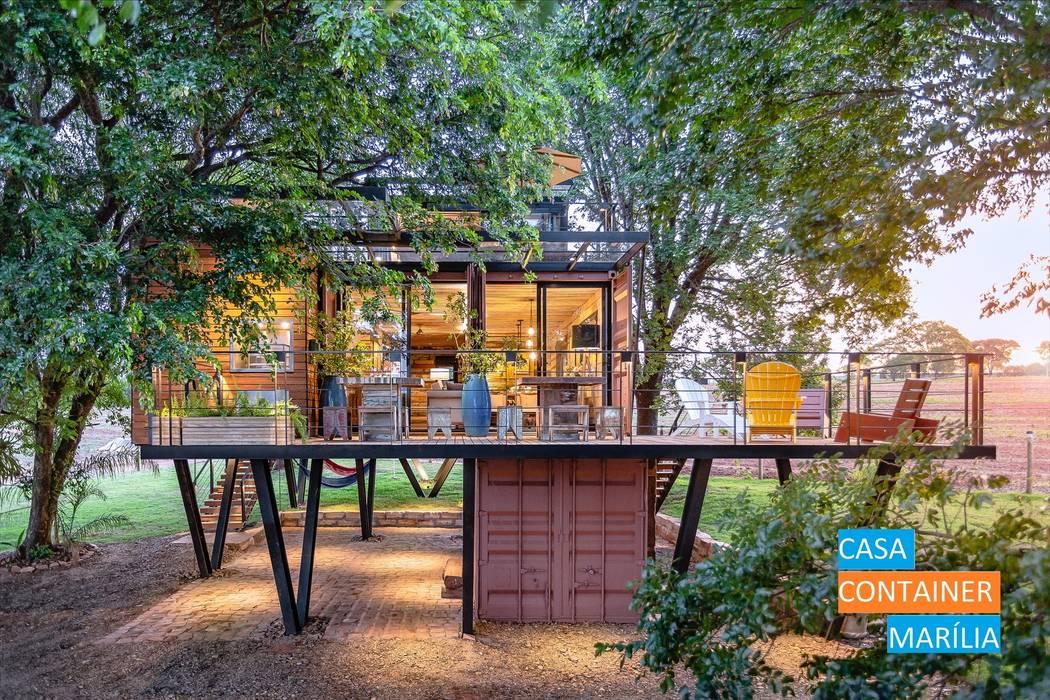 Fachada Casas campestres por Casa Container Marilia - Arquitetura em Container Campestre