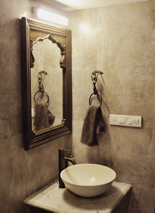 2BHK Project Malad Rustic style bathroom by Rebel Designs Rustic Tiles