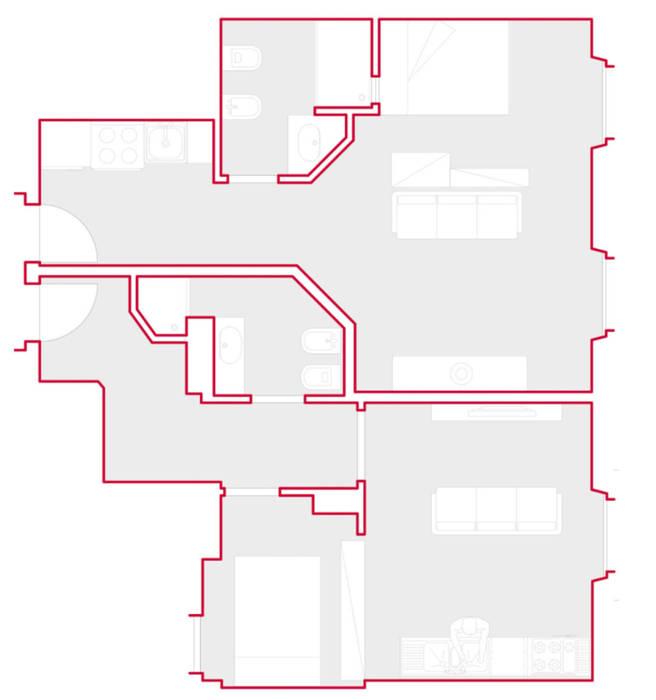 PORPORA | Monolocale per studenti di GruppoTre Architetti Moderno