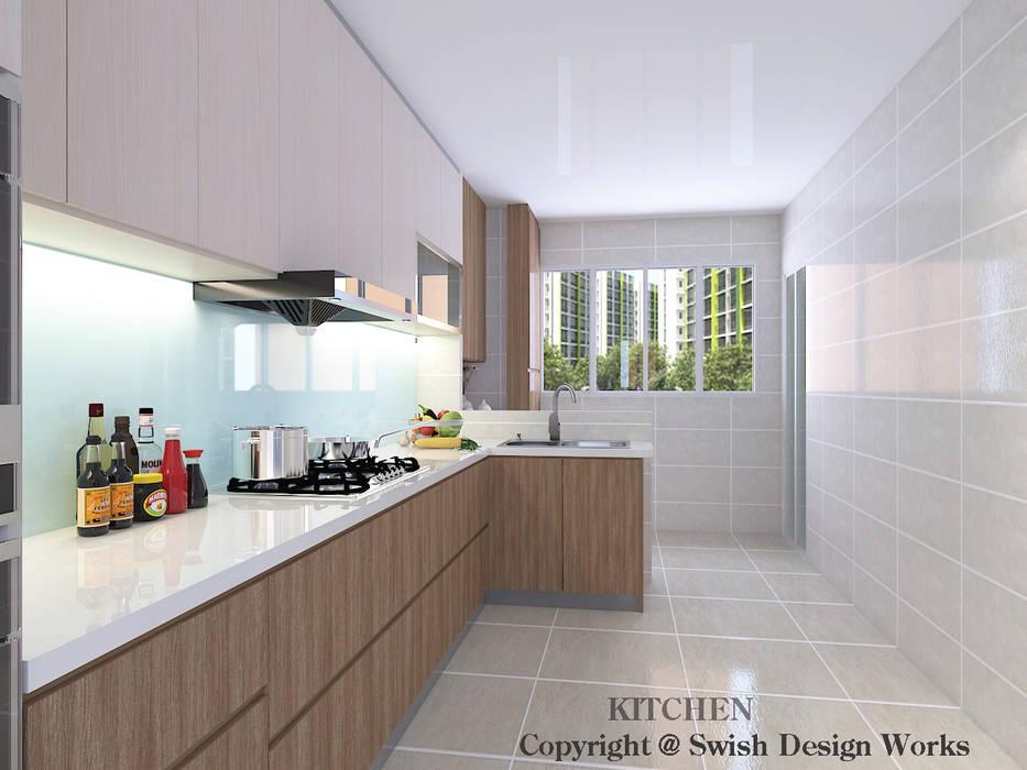 Swish Design Works Dapur Modern Kayu Lapis Wood effect