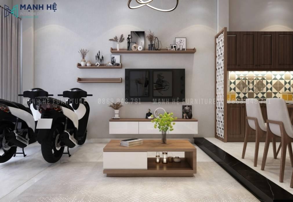 Kệ tivi treo tường đồng bộ với chiếc bàn trà theo tone màu trắng kết hợp vân gỗ làm điểm nhấn bởi Công ty TNHH Nội Thất Mạnh Hệ Hiện đại