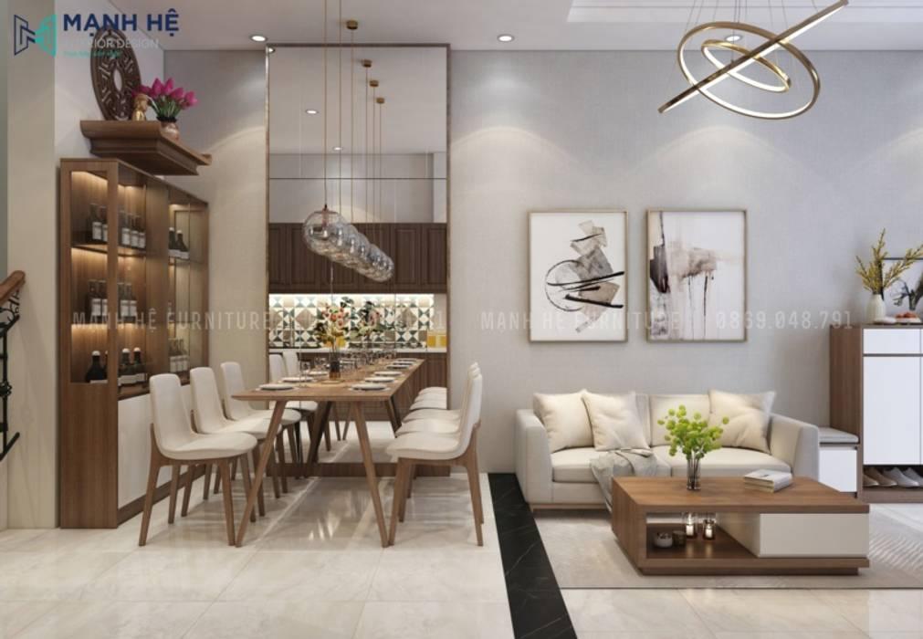 Bộ bàn ăn gỗ dành cho 6 người ấm cúng Phòng ăn phong cách hiện đại bởi Công ty TNHH Nội Thất Mạnh Hệ Hiện đại