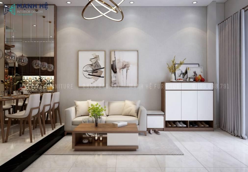 Nội thất phòng khách nhà phố đơn giản nhưng không kém phần sang trọng bởi Công ty TNHH Nội Thất Mạnh Hệ Hiện đại