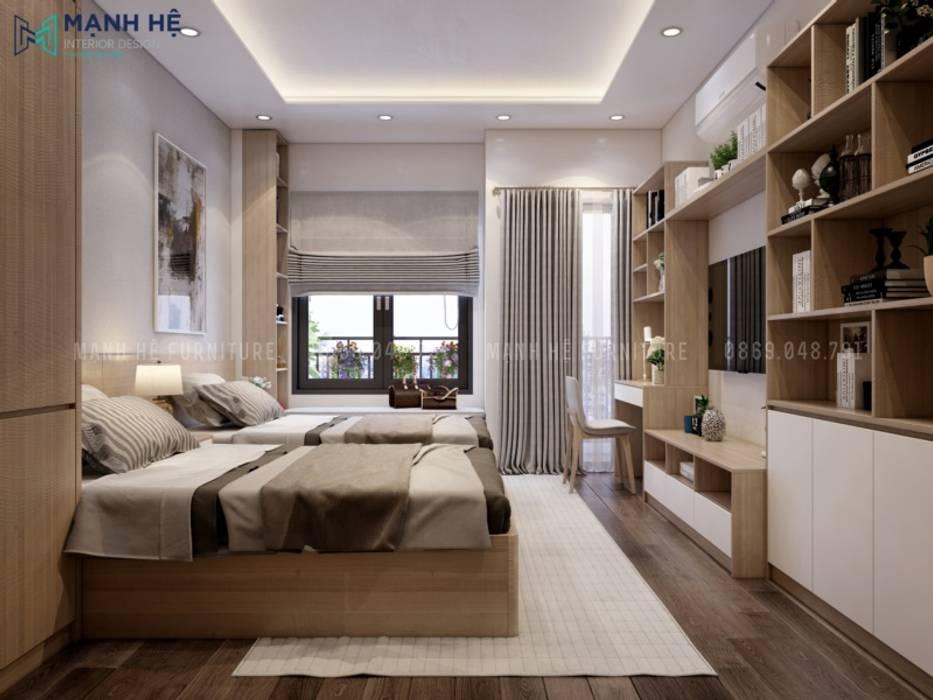 Thiết kế nội thất phòng ngủ master nhẹ nhàng với tone màu gỗ công nghiệp sáng Công ty TNHH Nội Thất Mạnh Hệ Phòng ngủ nhỏ