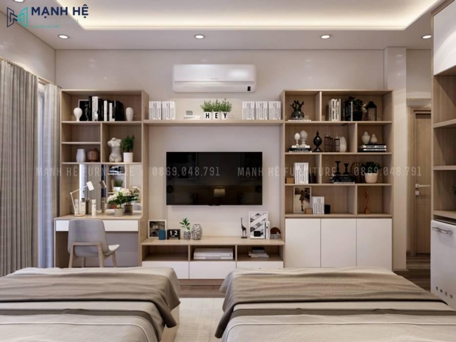 Hệ tủ trang trí kết hợp kệ tivi gọn gàng, sắp xếp khoa học Công ty TNHH Nội Thất Mạnh Hệ Phòng ngủ nhỏ