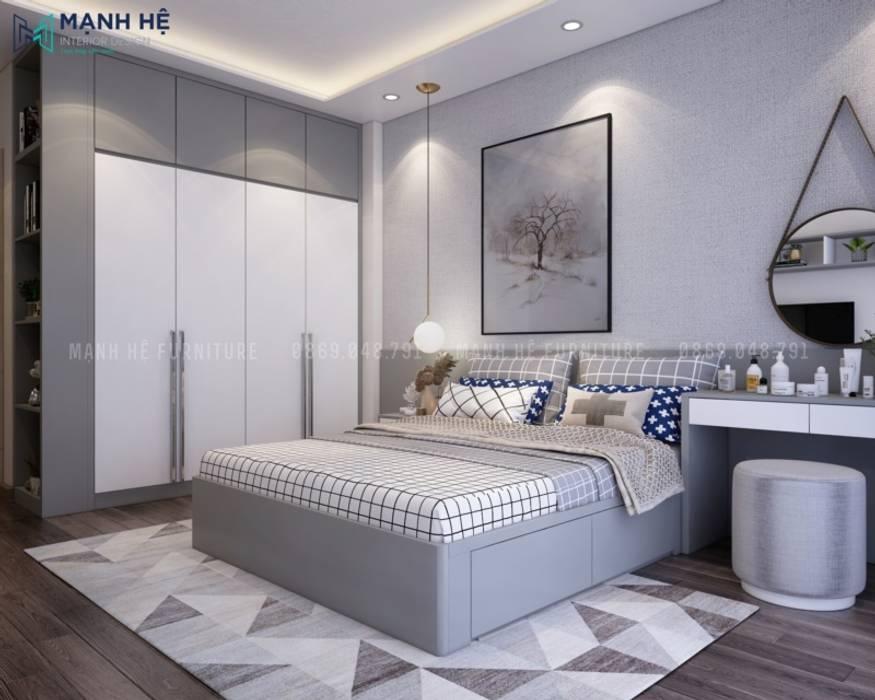 Phòng ngủ được lát sàn gỗ công nghiệp Malaysia cao cấp Phòng ngủ phong cách hiện đại bởi Công ty TNHH Nội Thất Mạnh Hệ Hiện đại