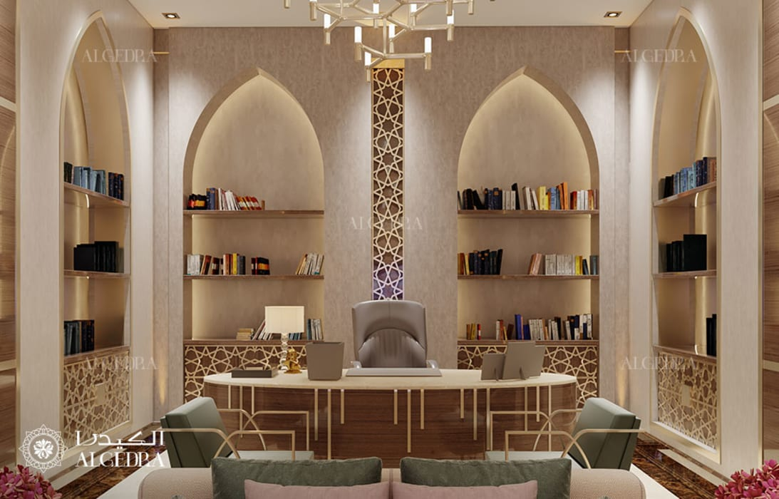 Office Interior with Arabic style motifs Modern Study Room and Home Office by Algedra Interior Design Modern